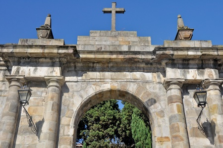 Main gate of  the cemetery of Mallona, Bilbao, Spain photo