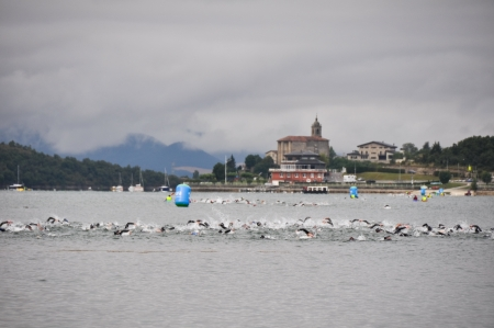 Athletes competing in the swimming section in the Long Distance Triathlon World Championships, July 29, 2012 in Vitoria Gasteiz, Basque Country, Spain Stock Photo - 14668285
