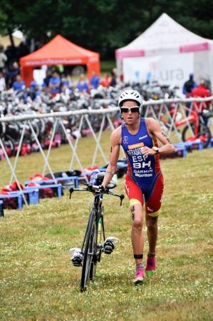 gasteiz: Virginia Berasategui on transition zone in the Long Distance Triathlon World Championships, July 29, 2012 in Vitoria Gasteiz, Basque Country, Spain Editorial
