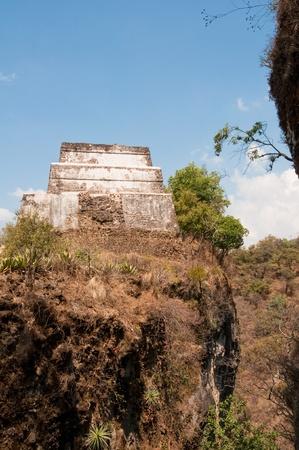 morelos: Pyramid at Tepozteco ruins in Tepoztlan, Mexico Stock Photo