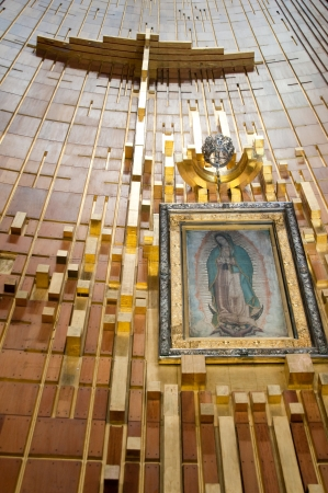 shrine: Painting of Guadalupe Virgin, Guadalupe Shrine in Mexico city Editorial