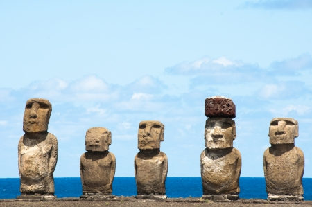 easter island: Moais in Ahu Tongariki, Easter island, Chile