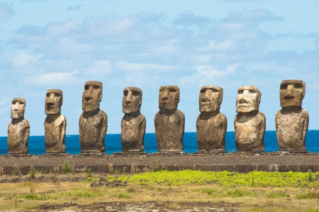 Moais in Ahu Tongariki, Easter island, Chile photo