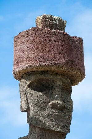 Moai in Anakena beach, Easter island, Chile photo