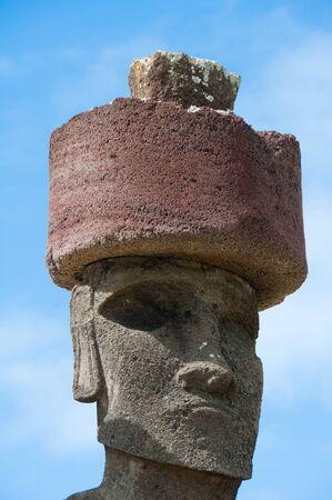 moai: Moai in Anakena beach, Easter island, Chile Stock Photo