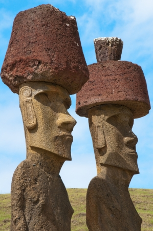 Moais in Anakena beach, Easter island, Chile Stock Photo