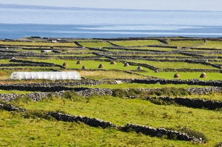 aran islands: Paisaje irland�s, Inishmore, Aran islas en Irlanda Foto de archivo