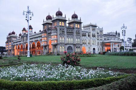 The Mysore Palace at night, India
