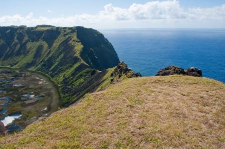 rapa: Rano Kau volcano, Easter island  Chile   Stock Photo