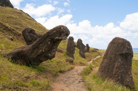 rano raraku: Moais at Rano Raraku volcano, Easter island, Chile Stock Photo