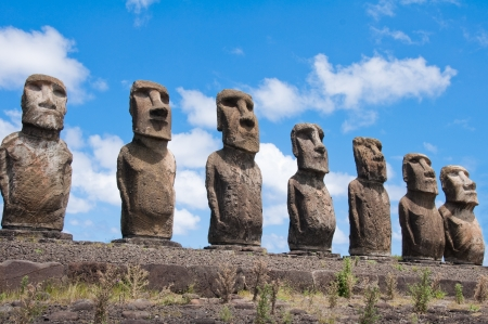 moai: Moais in Ahu Tongariki, Easter island, Chile
