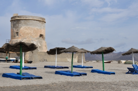 Beach and tower of San Miguel, near Gata cape, Andalusia  Spain