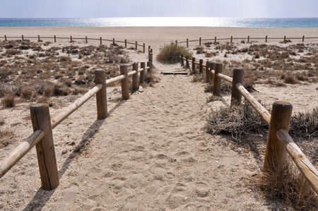 national scenic trail: San Miguel beach, near Gata cape, Andalusia  Spain  Stock Photo
