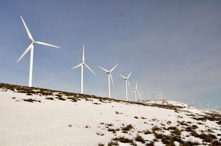 eolian: Wind turbines farm in winter, Elgea range  Basque Country  Stock Photo