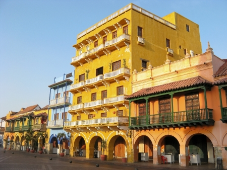 Square of carriages, downtown of Cartagena de Indias, Colombia