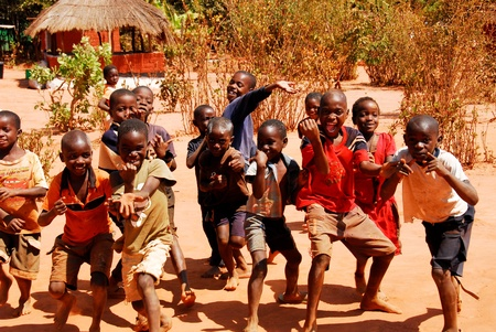 Children do tribal dance on August 10, 2009 in North Lwanga National Park  Zambia
