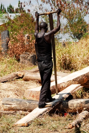 sawyer: Carpenter in Northern Zambia Stock Photo