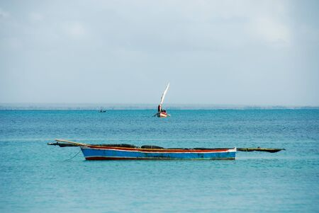 Traditional boats at Pangane Beach, Mozambique photo