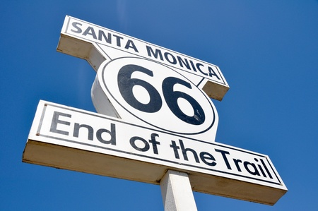 Route 66 end of the Trail sign in Santa Monica, California photo