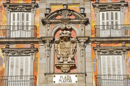 plaza of arms: Spanish Coat of Arms at Plaza Mayor in Madrid, Spain