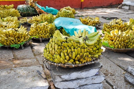 Banana bunches in a street market, Mysore, India Stock Photo - 17898043