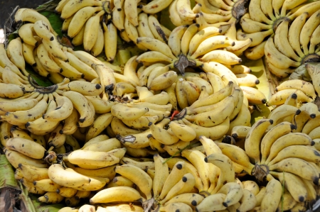 street market: Banana bunches in a street market, Mysore, India Stock Photo