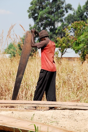 northern african: Carpenter in Northern Zambia Stock Photo