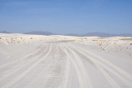 white sands national monument: Road at White Sands National Monument, New Mexico, USA