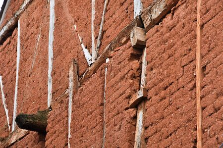 adobe wall: Adobe muro in Ayllon, Segovia, Spagna