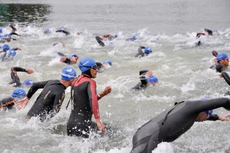 gasteiz: Athletes on Start of the the Long Distance Triathlon World Championships, July 29, 2012 in Vitoria Gasteiz, Basque Country, Spain
