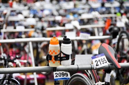 gasteiz: Transition zone in the Long Distance Triathlon World Championships, July 29, 2012 in Vitoria Gasteiz, Basque Country, Spain  Editorial