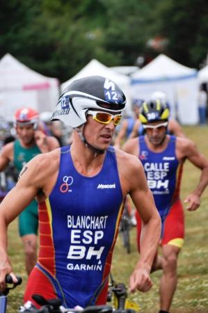 gasteiz: Miquel Blanchart on transition zone in the Long Distance Triathlon World Championships, July 29, 2012 in Vitoria Gasteiz, Basque Country, Spain