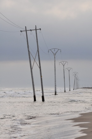 ebre: Electric powerline at Trabucador isthmus, Spain Stock Photo