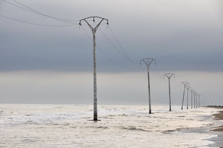 powerline: Electric powerline at Trabucador isthmus, Spain Stock Photo