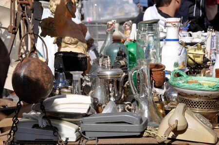 Scene from El Rastro flea market in Madrid, Spain. El Rastro is held in La Latina neighborhood every Sunday.