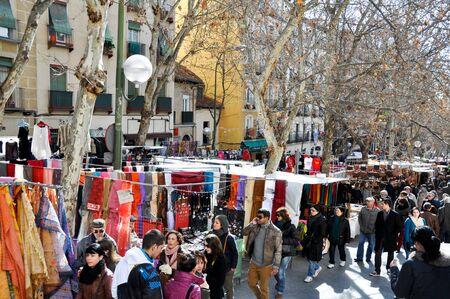 sunday market: Scene from El Rastro flea market in Madrid, Spain. El Rastro is held in La Latina neighborhood every Sunday.