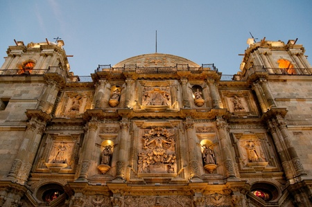 assumption: Cathedral of Our Lady of the Assumption at night, Oaxaca, Mexico Stock Photo