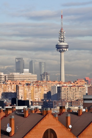 pio: Torrespa?famous broadcasting tower, seen from Tio Pio park in Vallecas  on February 4, 2013 in Madrid, Spain.
