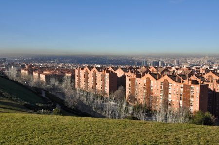 Panoramic view of Madrid from Vallecas, Spain Banco de Imagens