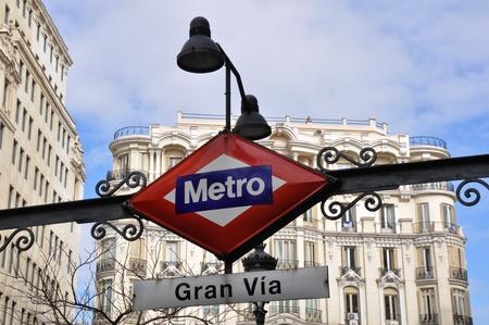 gran via: Metro Station Signal at Gran Via, Madrid, Spain Editorial