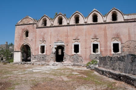 karmylassos: Lower church of ghost town of Kayakoy, Turkey Stock Photo