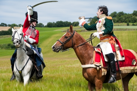 cavalry: Vitoria, Spain- June 22, 2013: Re-enactment of the battle of Vitoria between British, Portuguese and Spanish army under General Wellington and the French army in 1813 Editorial