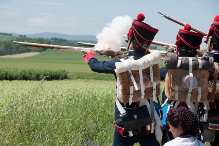 Vitoria, Spain- June 22, 2013: Re-enactment of the battle of Vitoria between British, Portuguese and Spanish army under General Wellington and the French army in 1813 Editorial