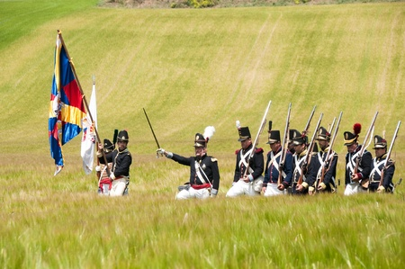 Vitoria, Spain- June 22, 2013: Re-enactment of the battle of Vitoria between British, Portuguese and Spanish army under General Wellington and the French army in 1813