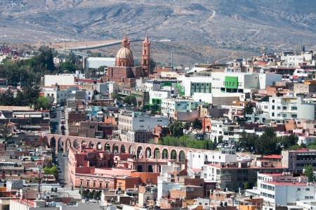 View of Zacatecas with aqueduct and Guadalupito church, Mexico