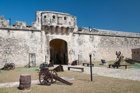 gunnery: Land gate, Walls of Campeche, Mexico Editorial