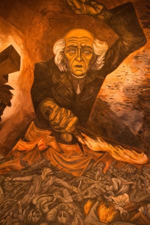 """멕시코 구아 달라하라 - 3 월 17 일 : 벽화 과달라하라의 정부 궁전에서 호세 클레멘테 오 로스코에 의해 생성 된 """"인민과 그 지도자""""(멕시코)"""