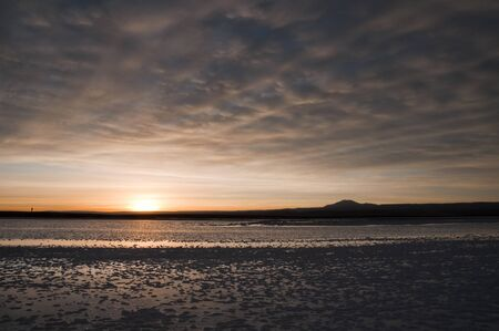 salt flat: Sunset at salt flat of Atacama, Chile