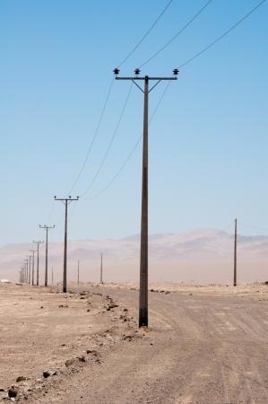 powerline: Electric powerline at Atacama desert, Chile Stock Photo