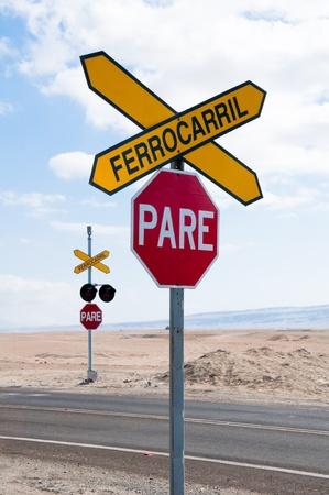 Railroad crossing, Atacama desert, Chile photo